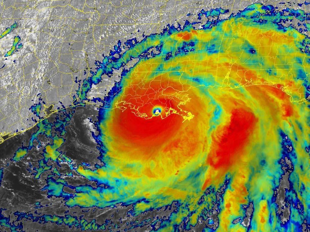 A satellite radar image of hurricane Ida approaching the coast of Louisiana