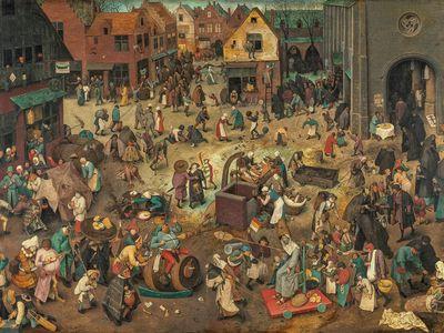 """Pieter Bruegel the Elder, """"The Battle Between Carnival and Lent,"""" 1559"""