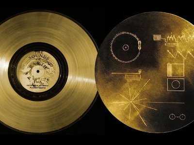 The Golden Record features images of life on Earth, nature sounds, greetings recorded in 55 different languages