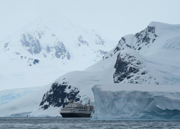 Looking back on our Antarctic expedition ship from a zodiac thumbnail