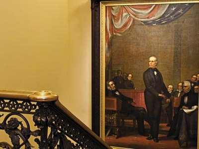 Phineas Staunton paid homage to his subject, Henry Clay, in an 11-by7-foot canvas.
