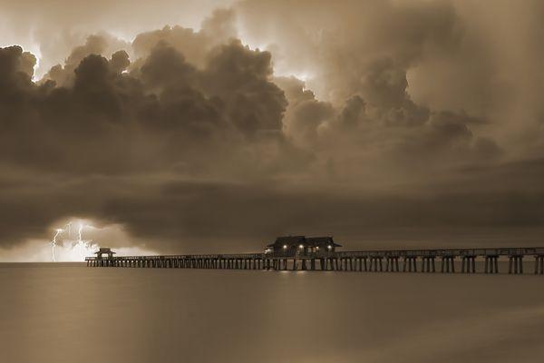 lightning striking off the Naples Pier in Naples, FL thumbnail