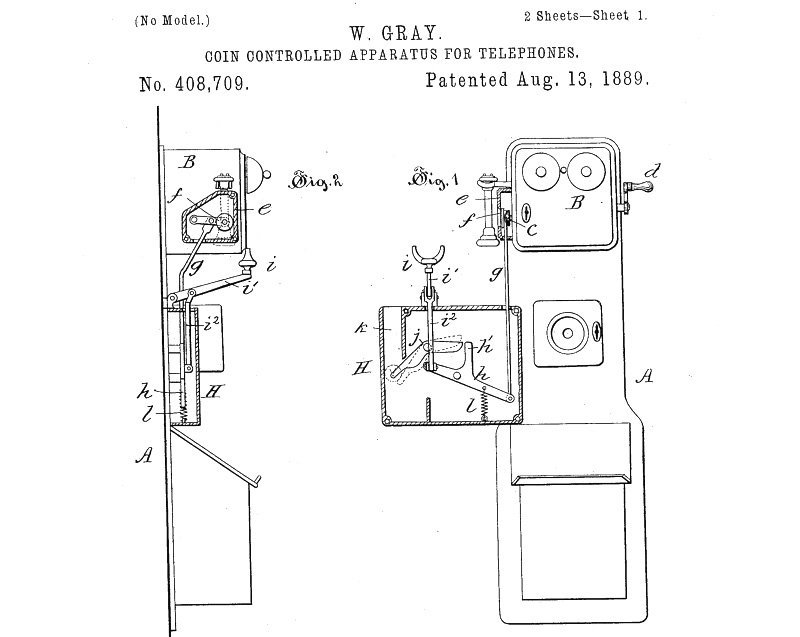 """Patent  408,709 for a """"coin-controlled apparatus for telephones,"""" issued August 13, 1889."""