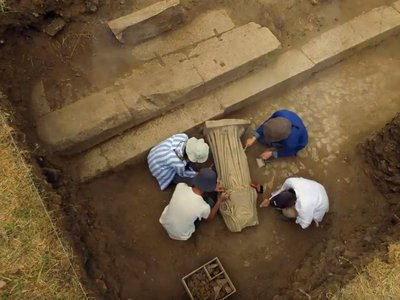 Officials posted a video showing the statue's excavation on Twitter.