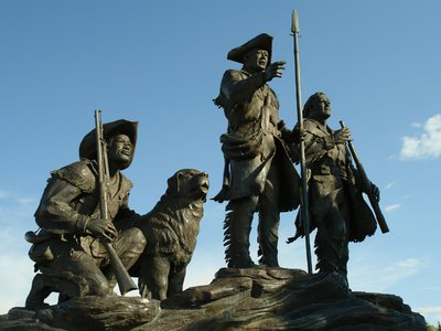 A statue of York with Lewis and Clark in Great Falls, Montana.