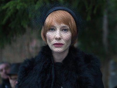 In guises ranging from draconian schoolmarm to misanthropic homeless man, Blanchett (above: giving the eulogy at a funeral) performs monologues assembled from excerpts of artistic manifestos.