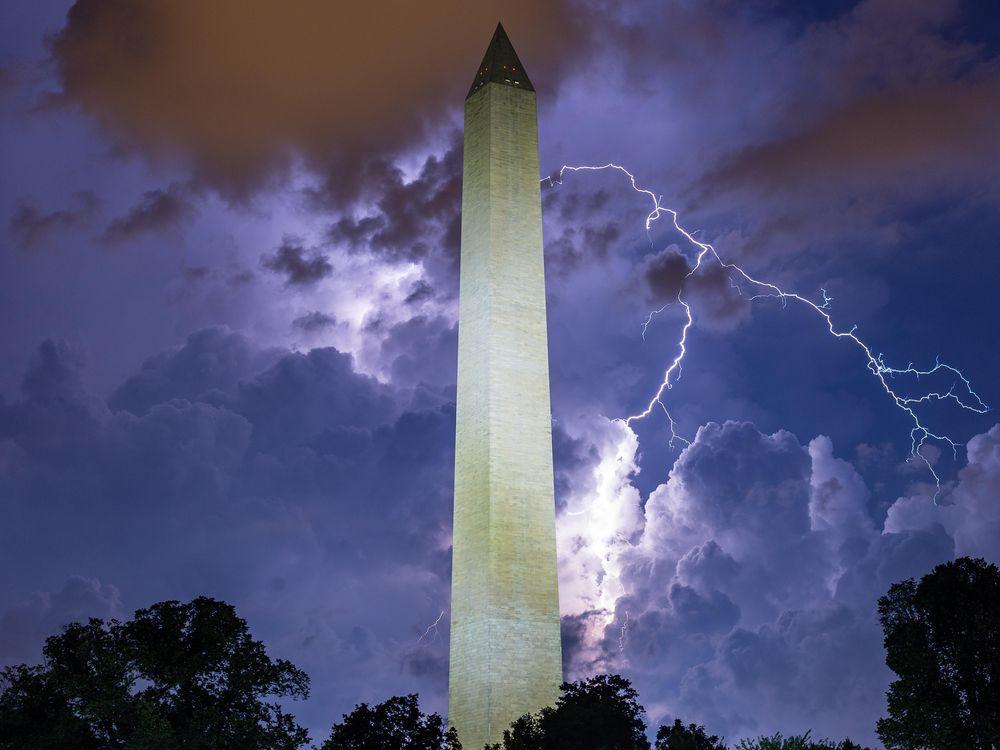 Stock image of lightning around the Washington Monument