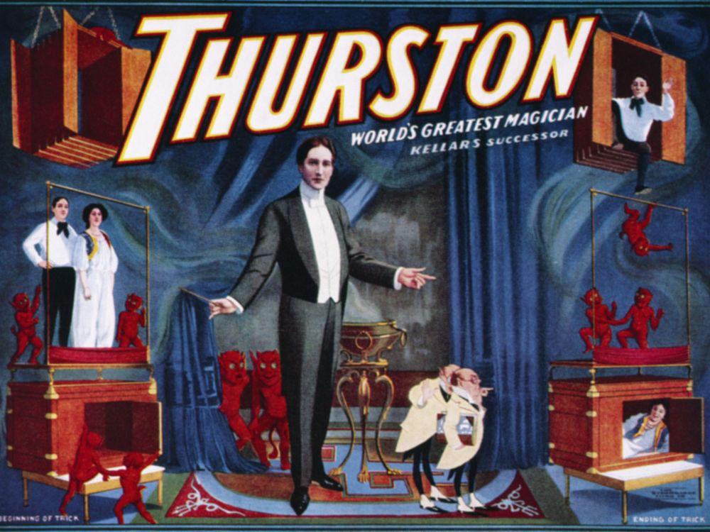 Early 20th century poster of magician Howard Thurston's spirit box illusion