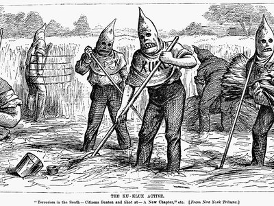 """A cartoon from a U.S. newspaper from 1880 reads: 'Terrorism in the South. Citizens beaten and shot at."""""""