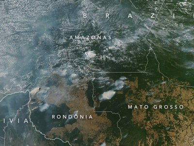 Fires burning in states of Rondônia, Amazonas, Pará, and Mato Grosso in Brazil, captured via NASA satellite on August 11, 2019. Researchers are forecasting another active fire season in the region in 2020.