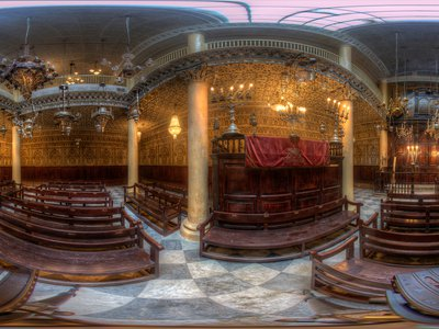 Moshe Nahon Synagogue in Tangier, Morocco. This is a flattened view of a 360-degree photograph from Diarna's archives.