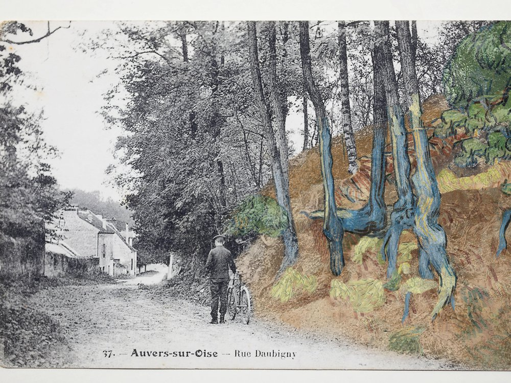 The black and white postcard, on the left, shows a cyclist next to a steep hill with knotted roots; on the right, the image shows Van Gogh's painted rendition of the same hillside in color