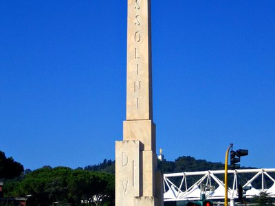 Beneath this obelisk is an even more outrageous display of Mussolini's self-regard.