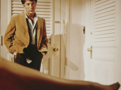 Dustin Hoffman, in the famous scene from The Graduate, during his first liaison with Mrs. Robinson. The movie was rejected by every major Hollywood studio.