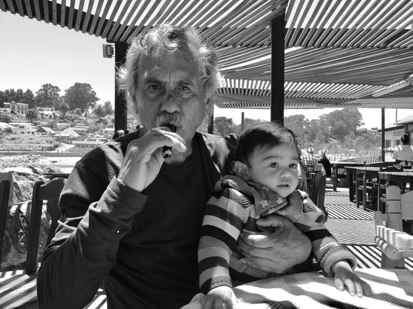 Portrait of grandfather and grandson thumbnail
