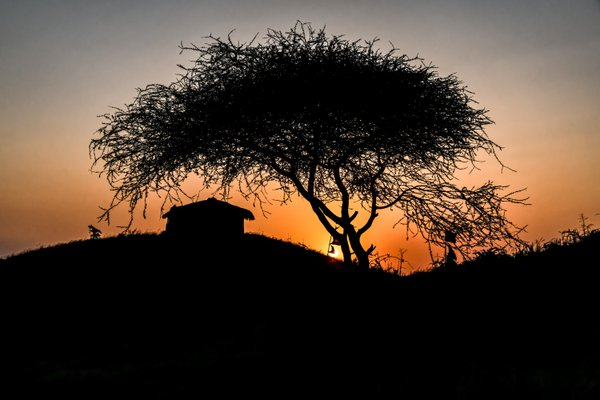 Sundown near a Maasai village thumbnail