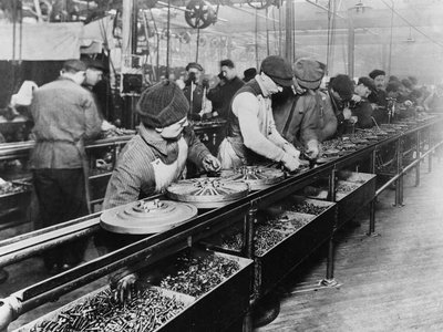 The Ford assembly line in 1913.