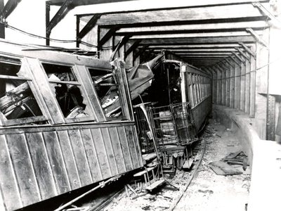 A view of the wreckage in the Malbone St. Tunnel