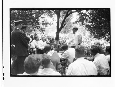 """One series of photographs in particular is exciting for the unique perspective. It was taken from an angle no one had seen before. """"In his camera lens you can see the back of Clarence Darrow, and you can see the face of William Jennings Bryan,"""" historian Marcel Chotkowski LaFollette says."""