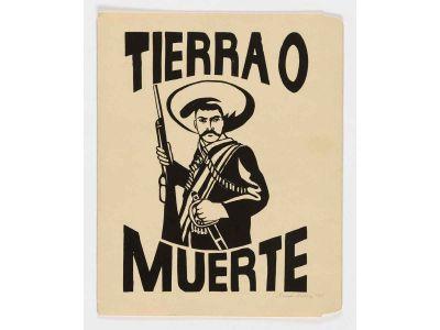 Emanuel Martinez, Tierra o Muerte, 1967, screenprint on manila folder