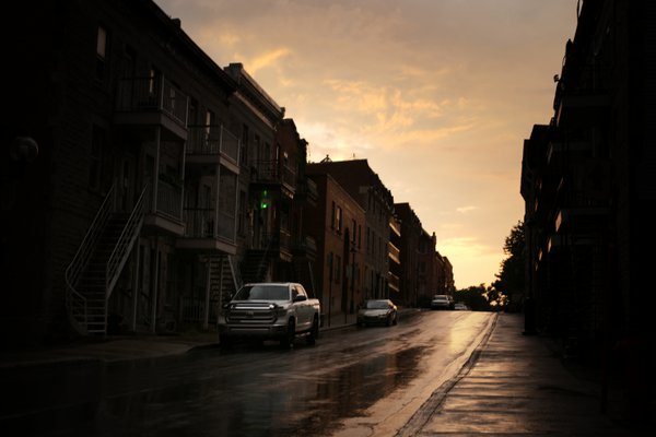 Sunset street after rain thumbnail