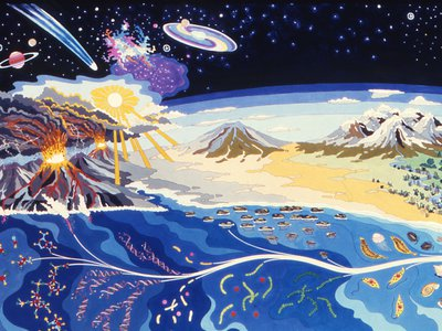 """A mural titled """"The Origin of Life on Earth"""" at NASA Ames Research Center. The mural depicts the formation of our planet and the conditions that led to the evolution of life."""
