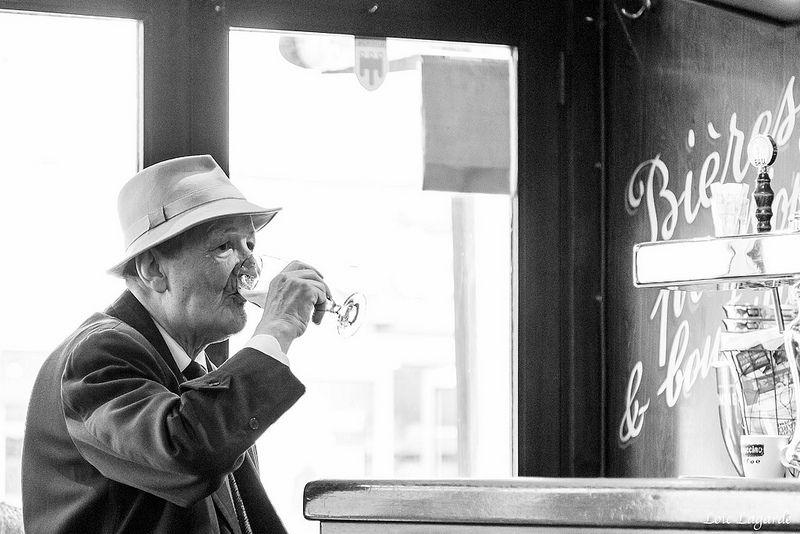 old man drinking