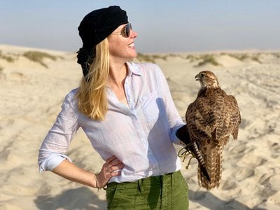 Television host Darley Newman explores falconry traditions in the desert of Qatar. She'll be speaking about Qatar at the Smithsonian on January 30. (Travels with Darley)