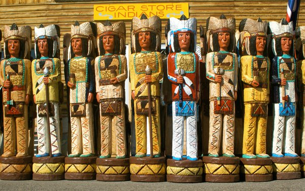 Colorful Wooden Cigar Store Indians in Jackson, Wyoming thumbnail