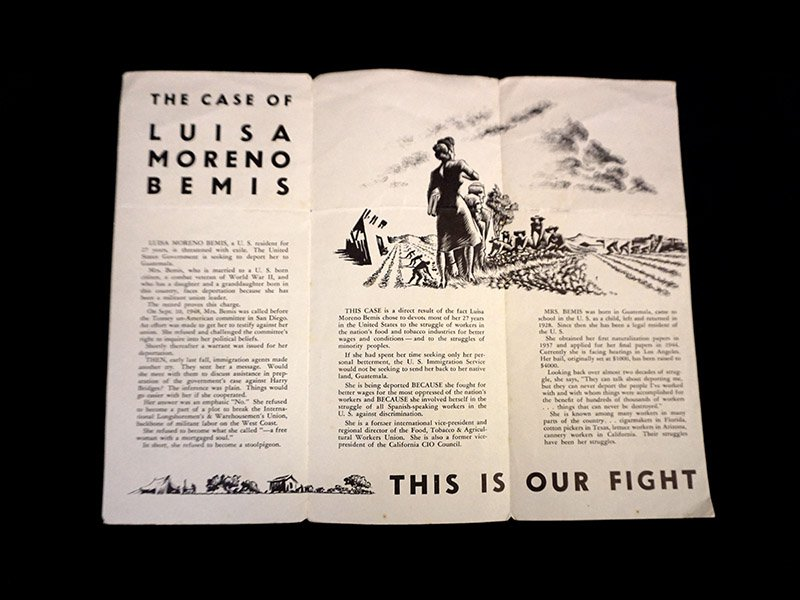 """Printed trifold of """"The Case of Luisa Moreno"""""""