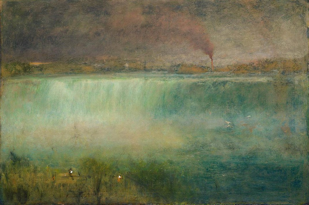 A painting in green and brown tones of Niagara Falls.
