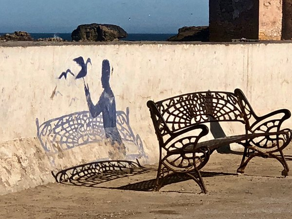 Street Art and a Bench in Morocco thumbnail
