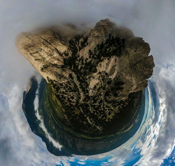 Drone panorama shot of the Chalk Cliffs, Mt. Princeton. Colorado. thumbnail