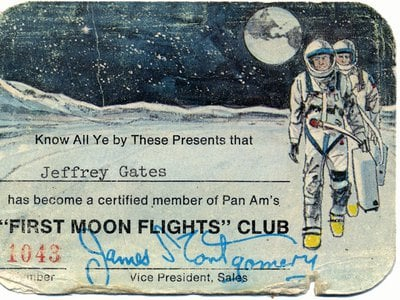 """Pan Am promoted its """"First Moon Flights"""" Club on radio and TV after the Apollo 8 mission in 1968, saying that """"fares are not fully resolved, and may be out of this world."""""""