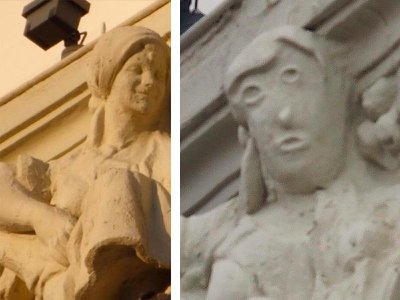 """The original sculpture (left) and the """"restored"""" version (right)"""