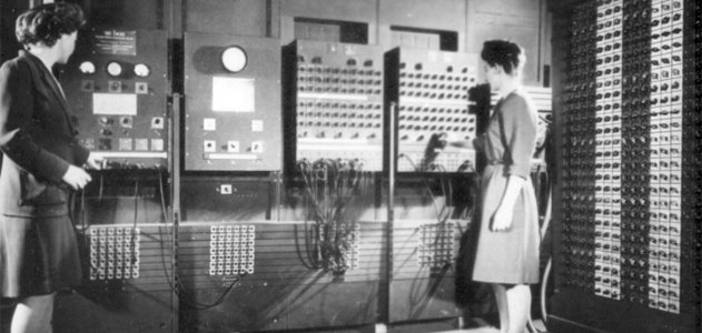Two women operating ENIAC