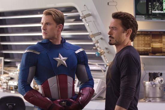 Captain America (Chris Evans) and Tony Stark (Robert Downey Jr.) in Marvel's The Avengers