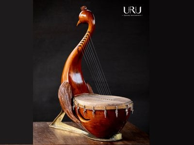 The yazh's design is based on detailed descriptions of the ancient instrument.