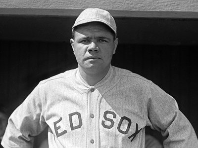 Baseball star Babe Ruth in his last year with the Boston Red Sox in 1919, one year after he survived the Spanish flu.