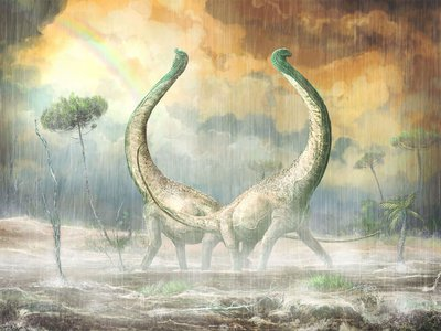An artist imagines what two Mnyamawamtuka would look like as they cavort in the Cretaceous rain