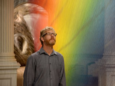 """When people come to the Smithsonian,"""" says lighting designer Scott Rosenfeld, (inside the gallery displaying the work of mixed media artist Gabriel Dawe) """"they want to experience art. They don't have to worry about spectrum."""""""