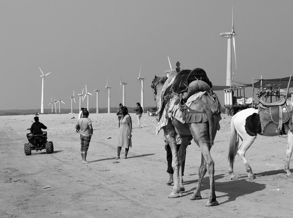 Beach walk with wind turbines thumbnail