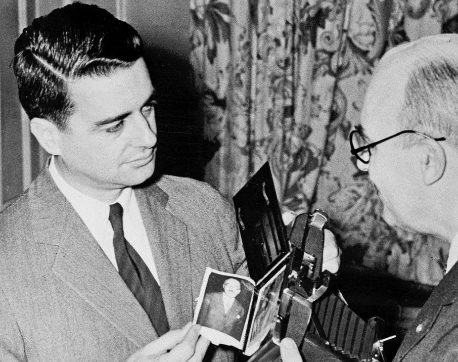 It's been 70 years of instant photography, thanks to Edwin Land, on the left.
