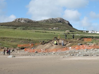 View of the dig site in Pembrokeshire, Wales