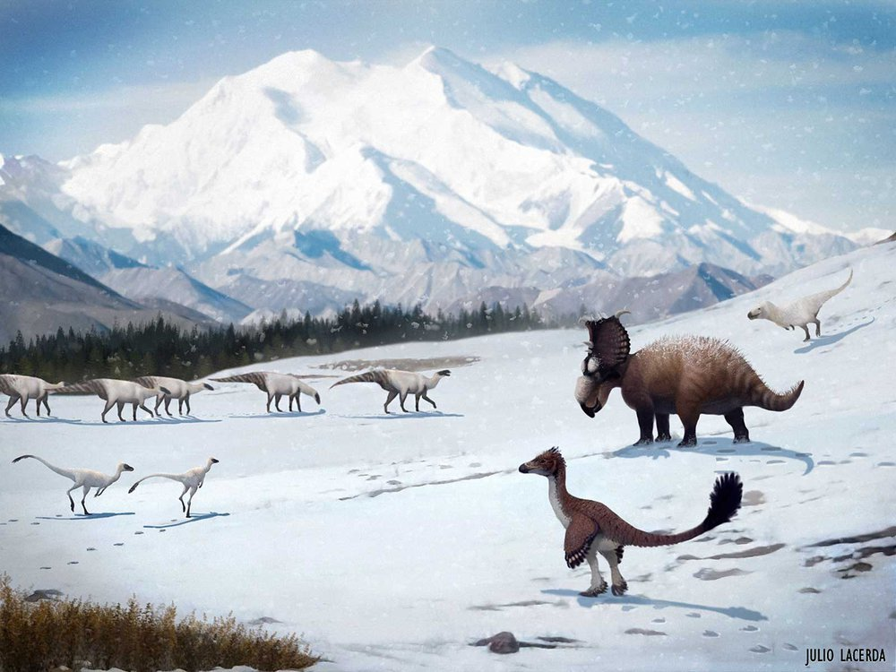 Dinosaurs In Snow