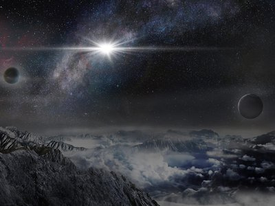 An illustration shows the record-breaking supernova ASASSN-15lh as it would appear from an exoplanet about 10,000 light-years away.