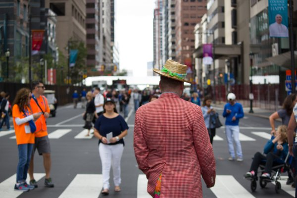 A man in the streets of Philadelphia during the Papal visit. thumbnail