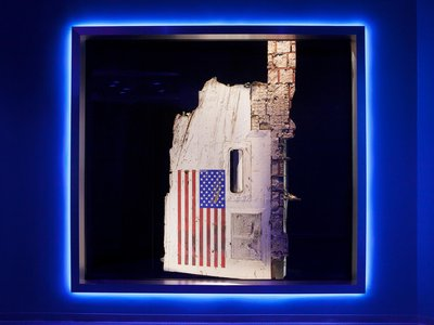 An iconic remnant of the space shuttle Challenger disaster, this flag-covered piece of fuselage was hidden away in storage until NASA's new memorial launched on June 27, 2015.