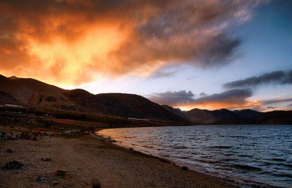 Sunset colours beside the Pangong Tso thumbnail