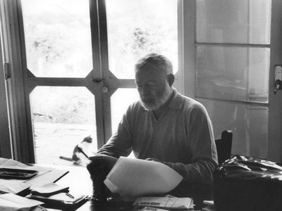 """Hemingway photographed in 1956, the year he completed """"A Room on the Garden Side."""""""